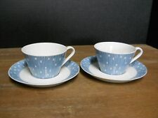 2 Tea Cups & Saucers Schonwald Porcelain Germany Blue Lines White Squares