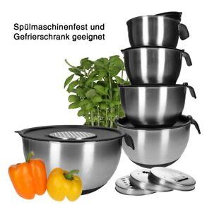Edelstahl Schüssel Set, Salatschüssel, Rührschüssel | inkl. Deckel & 4 Reiben