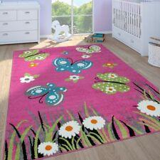 Kinderteppich Mädchen Kinderzimmer Spielteppich Kurzflor Schmetterlinge In Pink
