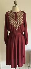 Vintage Indian Hippy Festival Maroon Boho Dress, Size Armpit to Armpit 20""