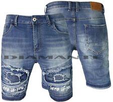 Bermuda Jeans uomo Denim elasticizzati strappati blu pantaloni corti Z755