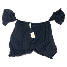 American Rag Crochet Top Crop Black S NWT Off Shoulder Hem Cropped New Shirt Cie