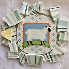 Sale~Broken China Plates Mosaic Tiles~Sheep~Stripes In Soft Blue & Aqua~Hm Heart