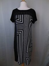 Calvin Klein Geometric Print Studded Dress Black Short Sleeve Medium #2296