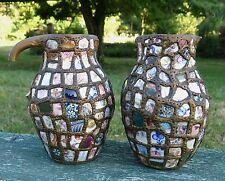 PIQUE ASSIETTE, 2 jolis vases pique assiette, céramique, mosaique, PIC ASSIETTE