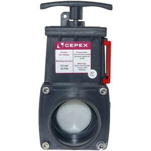 ø50 mm, Vanne guillotine PVC, pour bassin ou aquaponie.