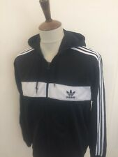 RETRO ADIDAS HOODED TRACKSUIT TOP SIZE XL BLACK.