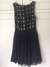 Womens Black John Zack Party Chiffon Sequin Floral Skater Dress Size 8
