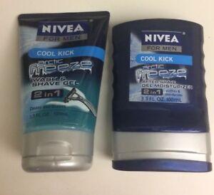 1 Set Nivea Men Cool Kick ARCTIC FREEZE. One Shave Wash Gel And One Moisturizer