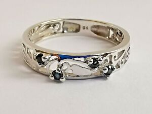 9ct 375 WHITE GOLD BAND RING SAPPHIRE GEMSTONES fancy open scrollwork 1.9g