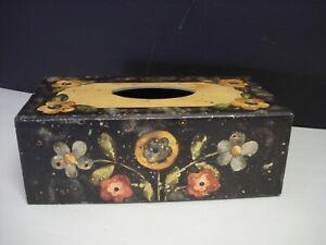 Bob's Boxes Primitive Bee's & Blooms black floral design Tissue Box by Lang co.