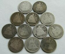 Lot of 12 Seated Liberty Quarters Low Grade 1853-1891