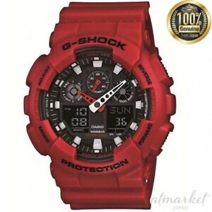 CASIO Watch G-SHOCK GA-100B-4AJF RED Men' in Box from JAPAN