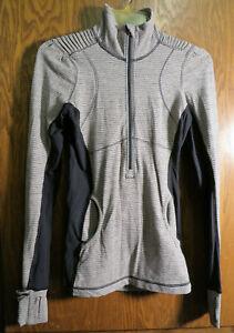 Lululemon 4 Star Runner Long Sleeve Pullover Cashew Tonka Stripe Tan Black EUC!