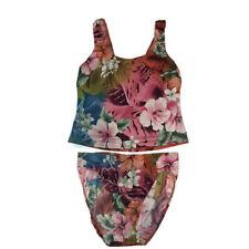 Newport News Swimsuit Tankini Set Sz 10 Bottom Top Swim Bathing Suit Floral Pink