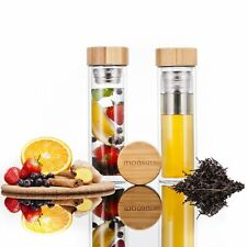 Monsuri double walled glass tea and fruit infuser water bottle with a bamboo woo
