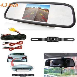 "4.3"" Rear View Kit Mirror Monitor + Waterproof Reverse Car Backup HD CCD Camera"