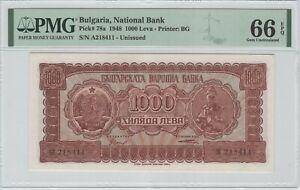 Bulgaria 1000 Leva 1948 P-78a PMG 66 EPQ **TOP POP**