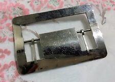 ANCIENNE BOUCLE DE CEINTURE métal acier chrome 10 cm x 7 cm vintage buckle C1