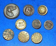 Lot Antique Brass Metal Wobble Shank Buttons - Dog Head, Red Seal, Our Wheeler +