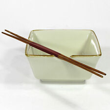 "Pottery Barn ASIAN SQUARE - PUTTY 6"" Noodle Pho Bowl Tan Natural Brown Japan"