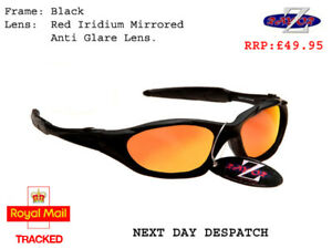 RayZor Black Sports Wrap Sunglasses Uv400 Red Iridium Mirrored Lens RRP£49 (478)