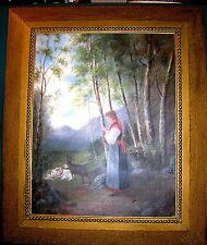 Ölgemälde Junge Frau mit Ziegen Öl Leinwand Monogramm CR 1890