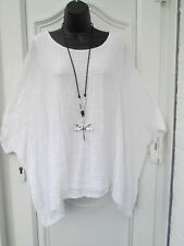 New  Italian Lagenlook WHITE Loose cotton Kaftan Tunic Top One size 16 18 20 22