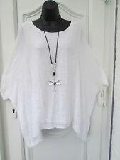 New  Italian Lagenlook WHITE Loose cotton Kaftan Tunic Top One size 16 18 20 22