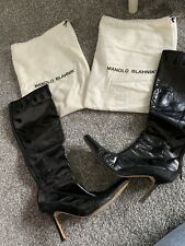 Genuine Manolo Blahnik Leather And Suede Heel Boots Size 6 7 40