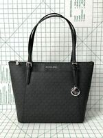 NWT MICHAEL KORS CIARA MK SIGNATURE PVC JET SET EW TOP ZIP TOTE BAG BLACK