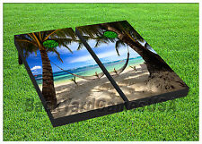 VINYL WRAPS Cornhole Boards DECALS Tropical Paradise Beach TossGame Stickers 267
