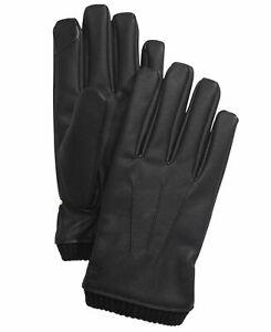 Calvin Klein Men's Winter Gloves Black Size XL Knit Cuff Faux Leather $55 #377