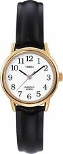 Ladies Genuine Black Leather Strap Easy Reader Analogue Timex T20433 Wrist Watch