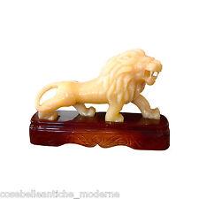 Scultura Leone in Onice Naranja con base Legno Lion Onyx Sculpture Arredo H18cm