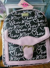 """New Betsey Johnson Lg Pink-Black """"Luv Betsey"""" Valentine's Hearts Backpack--NWT"""
