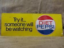 Vintage Stout Embossed Diet Pepsi Sign > Antique Old Pepsi-Cola Soda RARE 9145