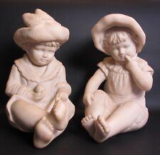 Outstanding Pair of ANTIQUE ITALIAN Alabaster Sculptures of Children  c. 1920 +