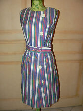 ROBE RAYURES VIOLETTE  ANCIENNE VINTAGE NEUVE TISSUS TOILE MAGASIN ST TROPEZ