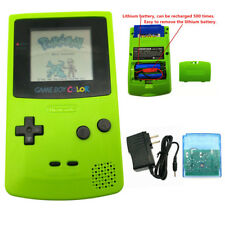 Apple Green Rechargeable Nintendo Game Boy Color Console + Card + Charger