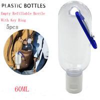 10Pcs 60ml Empty Refillable Bottle With Key Ring Travel Transparent Bottle US