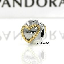 790599 - *RETIRED* NEW AUTHENTIC PANDORA SS BRAIDED HEART w/ 14K GOLD CLIP/CHARM