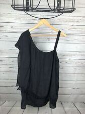Women's Bobeau Black One Shoulder Top with Strap Lace Trim - Size 1X - NWT