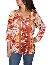Charter Club Women's Top, Long-Sleeve Floral-Print Peasant Blouse (Red Multi,S)