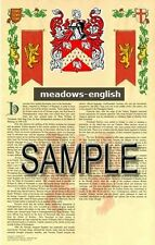 MEADOWS Armorial Name History - Coat of Arms - Family Crest GIFT! 11x17