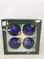 "Vintage Christmas by Krebs Ornaments Set 4 Blue Bethlehem 3"" Wise Men Glass"