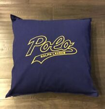 """Polo Script Ralph Lauren Throw Pillow Size 20"""" X 20"""" New Blue Couch Lounge Yelow"""