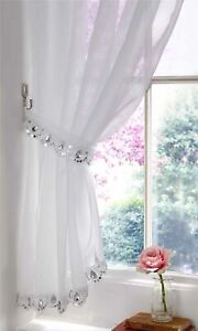 Modern Jewelled Slot Top Voile Curtain Panel (1) White, Silver Jewel Detailing