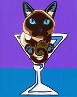 SIAMESE CAT in MARTINI Glass Signed Art PRINT of Painting by VERN