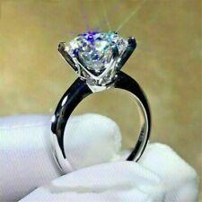 Solitaire Engagement 14K White Gold 2.5 Ct Round Moissanite Diamond